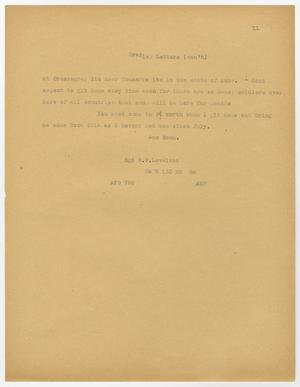 A page, manila in color, with a letter printed on it in faded black text. The text ends halfway down the page.