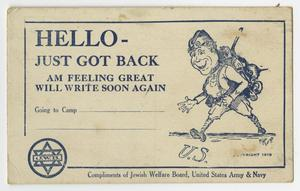 A white postcard, with blue text. The right side of it has a caricature of a man with stuff on his back.