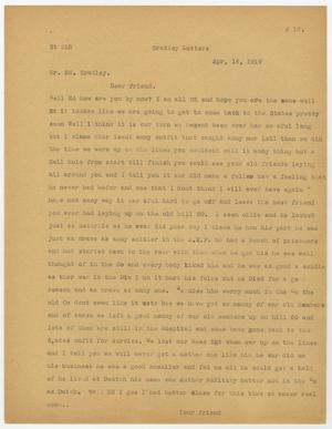 A page, manila in color, with a letter printed on it in faded black text. The bottom of the page has a sign off, but the name is cut off.