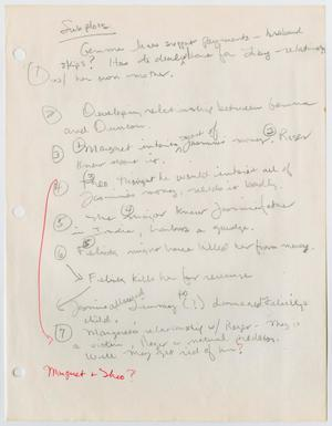A white page, the left margin has three hole punches. The page is filled with writing in pencil, the bottom left side has a red line down it, red writing under it.