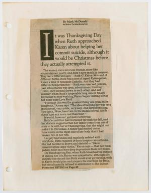 A newspaper clipping, the title in six lines at the top. The I is bigger than the rest. Under it are six paragraphs of text.