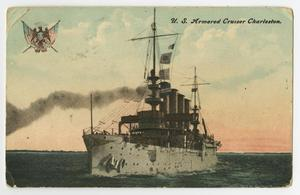 Postcard showing an illustration of a shop with two flags on it. Smoke is coming from it.