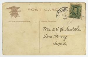 The back of a postcard, an eagle on the top left and a stamp on the top right. The bottom right side contains the address.