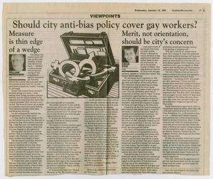 A newspaper page, with the title at the top, under it a drawing of an open briefcase. The rest of it is filled with five columns of text.