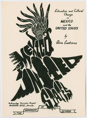 A white page, the title on the top right of the page. The middle of the page is titled Mexico United Sates, the letters big and black and made  to look like a person's head with a native american feathered headdress,  with an eagle body shape below.
