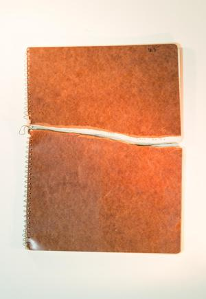 An orange notebook, ripped in half and the pieces put together.