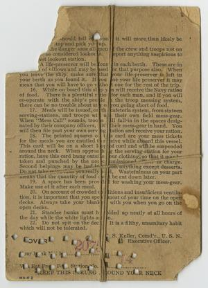 Brown card, the top left corner torn off. It is filled with text, points of text numbered 16 to 22. The bottom of it shows several hole punches.