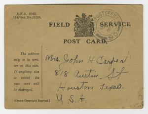 The back of a postcard, handwriting on the botton right. There is a faded stamp in the top corner.
