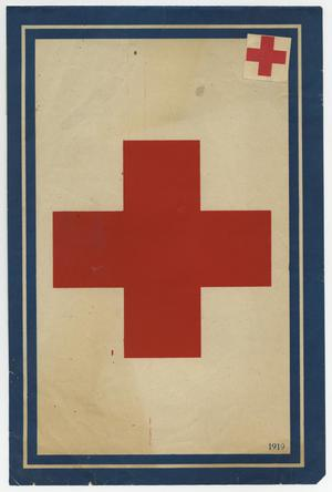 A poster framed a dark blue on it. In the middle of it is a big red cross, another small red cross in the top right corner.