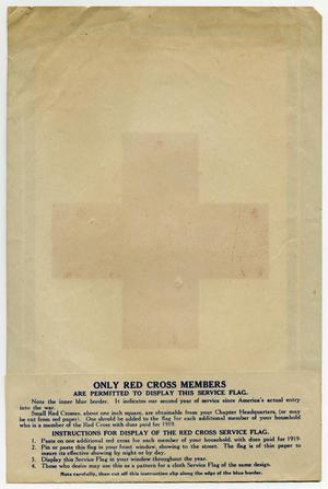 The back of a poster. The front of it can be seen from the back, showing  the outline of a red cross. The bottom of the page has a section titled  Only Red Cross Members, with instructions on it.