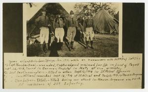 Old photo of 4 soldiers side by side each other, a tent behind them and a tent beside it. Under the photo is writing written by hand.