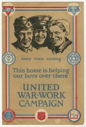 A poster, the rim of it framed by red white and blue lines. At the top, both corners have the letters YMCA on it. The bottom middle has the Salvation Army symbol on it. The top of the poster has an illustration of the faces of three soldiers. The bottom of it has blue letters for the advertisement.