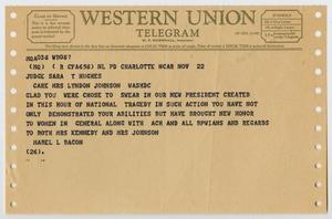 Telegrama marrón claro, con varios agujeros en los márgenes izquierdo y derecho.  En la parte superior lleva el título Telegrama de Western Union, debajo hay un texto en negro.