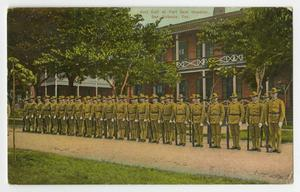 Postcard containing an illustration of several men in military uniform standing on a sidewalk, a two story building behind them with trees on each side of it.