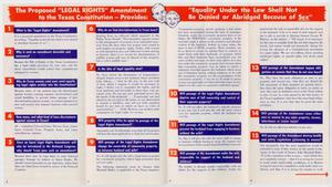 A pamphlet open to four panels, each panel has text sectioned off by blue blocks. Expanding over all of the panels is a red banner, with the title on it in white.
