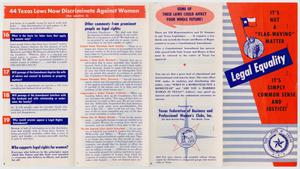 A pamphlet with four panels. The left two pages have a red banner at the top, with the words 44 Texas Laws on it. The farthes left panel has four sections of text. The second panel from the left has six sections of text. The farthest panel on the right is red on the right side, and is the cover page.