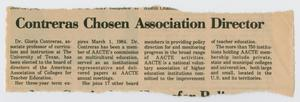 A newspaper clipping, with torn edges along the top and bottom. The title is at the top in bold letters, under it four columns of text.