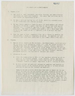 A white page, the title at the and two section of text. The first one is titled organization, with four numbered points under it. The second one is titled program, with two numbered paragraphs under that.