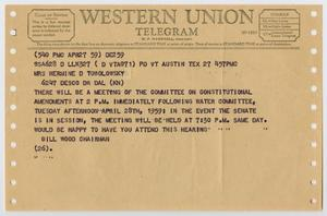 Light brown paper, with holes alongside the left and right margins. The top of it says Western Union Telegram. Under it is text with information over the event.
