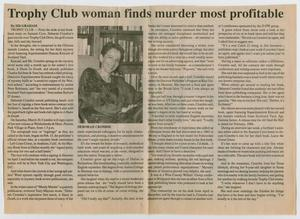 Newspaper page, the title at the top in bold letters. Under it there are four columns of text. The second column has a photo of a woman sitting in front of a bookcase.