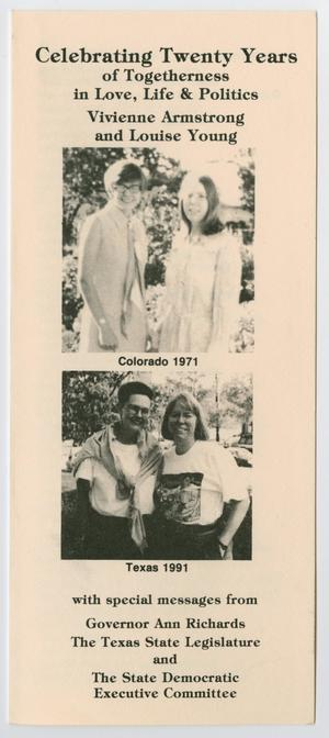 Long, white brochure, the title at the top in bold letters. Under it are two photos. The top one two women in dresses, the bottom one two women wearing t-shirts.