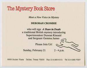 A white flyer, the words The Mystery Book Store at the top in red. Under it is the rest of the announcement, on the outside the outline of a person is seen.