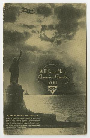 A picture postcard with an illustration of the back of the statue of liberty with a cloudy sky and light reflecting on the water. It is in black and white.