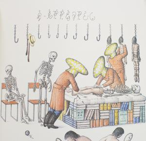 An illustration. On the right are two human figures but with yellow oval shapes for heads. They are touching a skeleton laying on top of books. On the left of that are two skeletons by orange chairs, one sitting and one standing. At the top are a bunch of hooks, 3 bodies hanging from the ones on the right.
