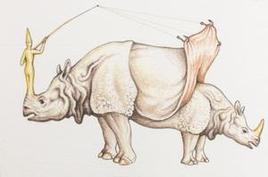 An illustration of a double sided rhino. On the left a yellow figure stands on the rhino, pulling back the skin of the rhino head on the right.