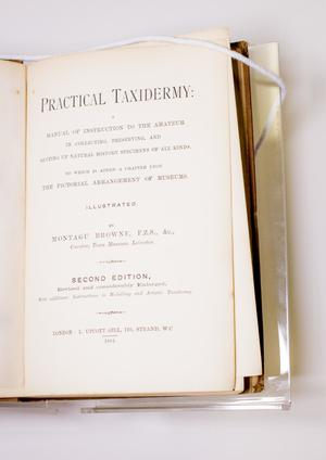 Closeup of a title page, the words Practical Taxidermy at the top in big letters.
