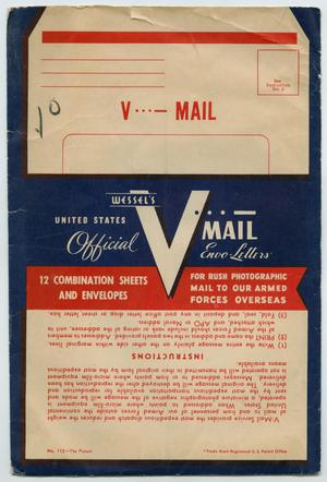 A dark blue cover, showing a graphic of an envelope at the top, at the bottom is a white box with red text. There is a big V in the middle.