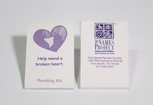 Two white containers next to each other. The one on the left contains a purple heart, saying Help mend a broken heart on it. The one on the right says The Names Project on it.