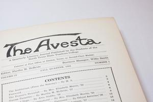 A closeup of a white page. The title of it is seen, saying The Avesta. Under it is a table of contents.