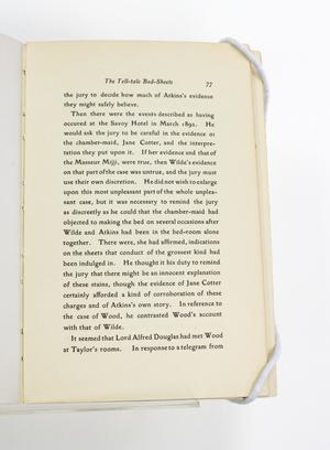 A page titled The Tell--Tale Bed-Sheets at the top, the rest of the page filled with black text.