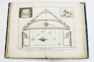 An open book with a graphic of a building expanding over the two pages. On the top corners are smaller illustrations.