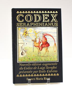 Black book cover. The middle of is an illustration of a man in a red suit with a long hat, sitting on a deer. Above the illustration are the words Codex Seraphinus in big golden letters. Under it is more text in gold.