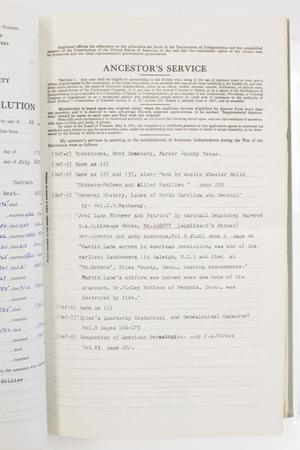 Page titled Ancestor's Service at the top, small paragraphs of text under it. Under it is more text in different font.