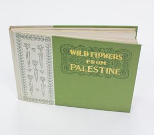 A book that is green, with a bit of white on the left side. The green part of the book has the title in yellow letters. The white part has drawings of flowers on it.