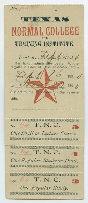 A long slip of paper. The name of the college at the top in black and red  letters. There are blank spaces with writing on it. Over it is a red star.