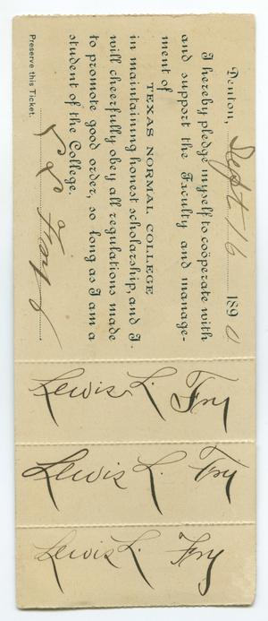 A long slip of paper, the text on it sideways with some cursive handwriting on it.