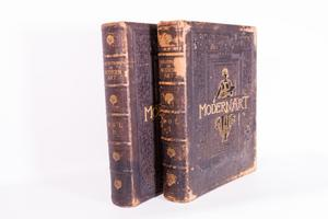 Spine and front cover of 2 books is shown. The book is an old and worn cover. On the cover are the words Modern Art. Both books are the exact same.