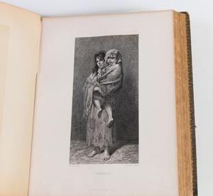 White page on the right side of an open book. The page has a drawing in the middle of a woman in a raggedy dress holding a young girl.