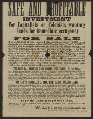 A worn out advertisement with big letters at the top. The top of the page says things such as Safe and Refutable and For Sale. The advertisement has a paragraph under it in smaller letters.