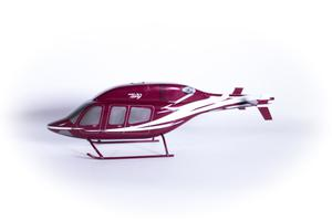 Left side of a red helicopter model with some white lines on it. The helicopter has three windows on the side.