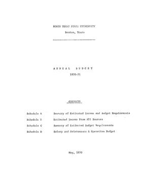Primary view of object titled 'North Texas State University Budget: 1970-1971'.