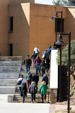 Primary view of [UNT faculty marching to vote]