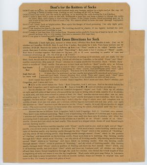 The back of a brown paper packaging, showing two sections of text. The first is titled Donts For The Knitters Of Sock, the bottom New Red Cross Directions For Sock.