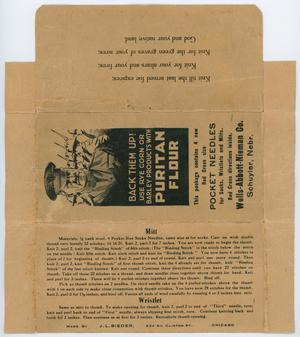 An open brown packaging, showing three panels. The middle is one containing a soldier illustration, with advertisement on it. The bottom of it has two sections of condensed text, the first titled Mitt the second titled Wristlet.
