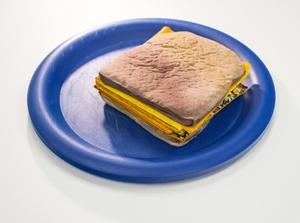 Book pages made to look like a stacked grilled cheese sitting on a blue plate. View from top.