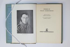 An open book, the page on the left containing a photograph of a man in a collared jacket. The page on the right is a title page.